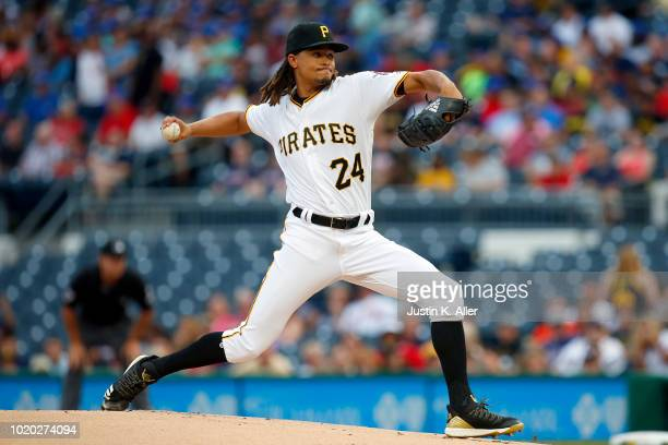 Chris Archer of the Pittsburgh Pirates pitches in the first inning against the Atlanta Braves at PNC Park on August 20 2018 in Pittsburgh Pennsylvania