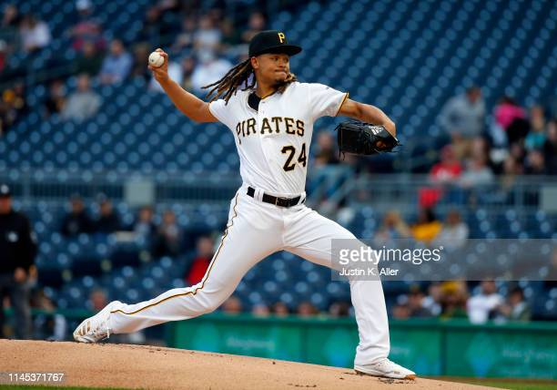 Chris Archer of the Pittsburgh Pirates pitches in the first inning against the Colorado Rockies at PNC Park on May 21, 2019 in Pittsburgh,...