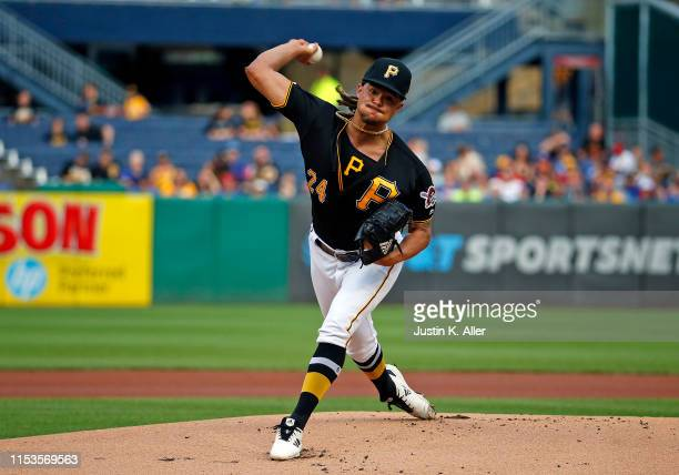 Chris Archer of the Pittsburgh Pirates pitches in the first inning against the Chicago Cubs at PNC Park on July 3 2019 in Pittsburgh Pennsylvania