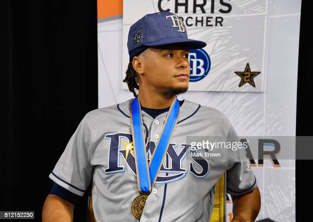 Chris Archer of the Tampa Bay Rays and the American League speaks with the media during Gatorade AllStar Workout Day ahead of the 88th MLB AllStar...