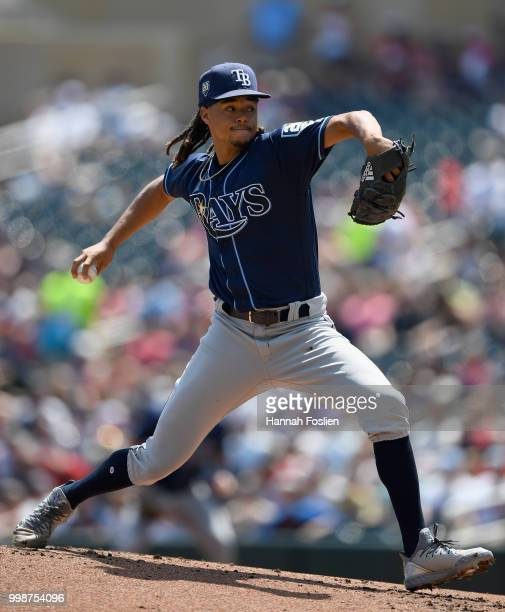 Chris Archer of the Tampa Bay Rays delivers a pitch against the Minnesota Twins during the first inning of the game on July 14 2018 at Target Field...