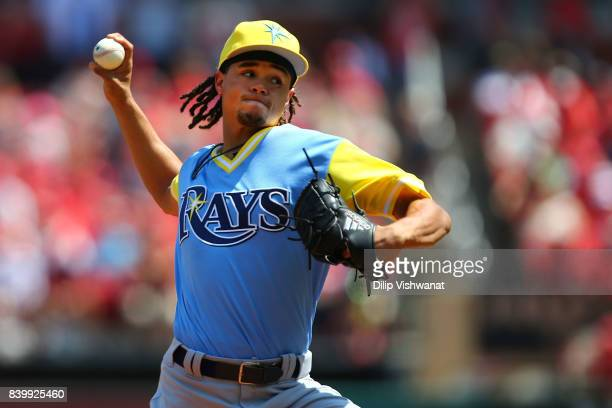 Chris Archer of the Tampa Bay Rays delivers a pitch against the St Louis Cardinals in the first inning at Busch Stadium on August 27 2017 in St Louis...
