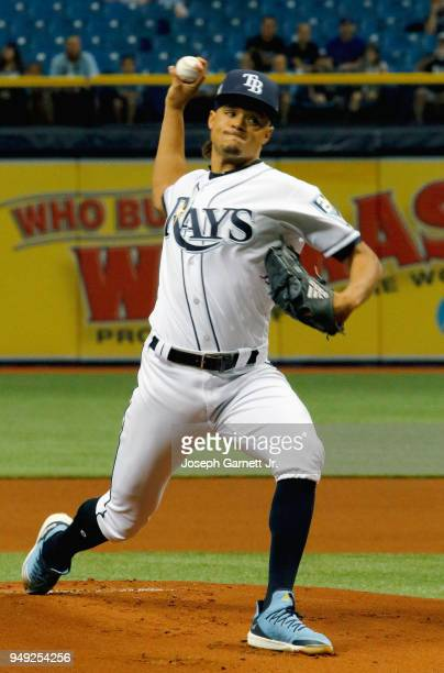 Chris Archer of the Tampa Bay Rays delivers a pitch during the first inning of their game at Tropicana Field against the Minnesota Twins on April 20...