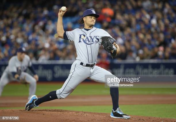 Chris Archer of the Tampa Bay Rays delivers a pitch in the first inning during MLB game action against the Toronto Blue Jays at Rogers Centre on...
