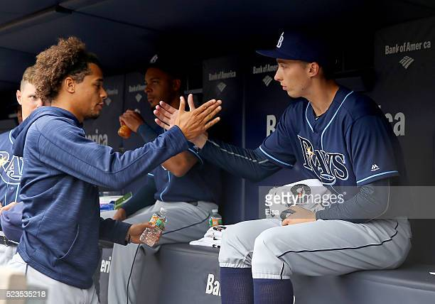 Chris Archer of the Tampa Bay Rays greets Blake Snell before the game against the New York Yankees at Yankee Stadium on April 23, 2016 in the Bronx...