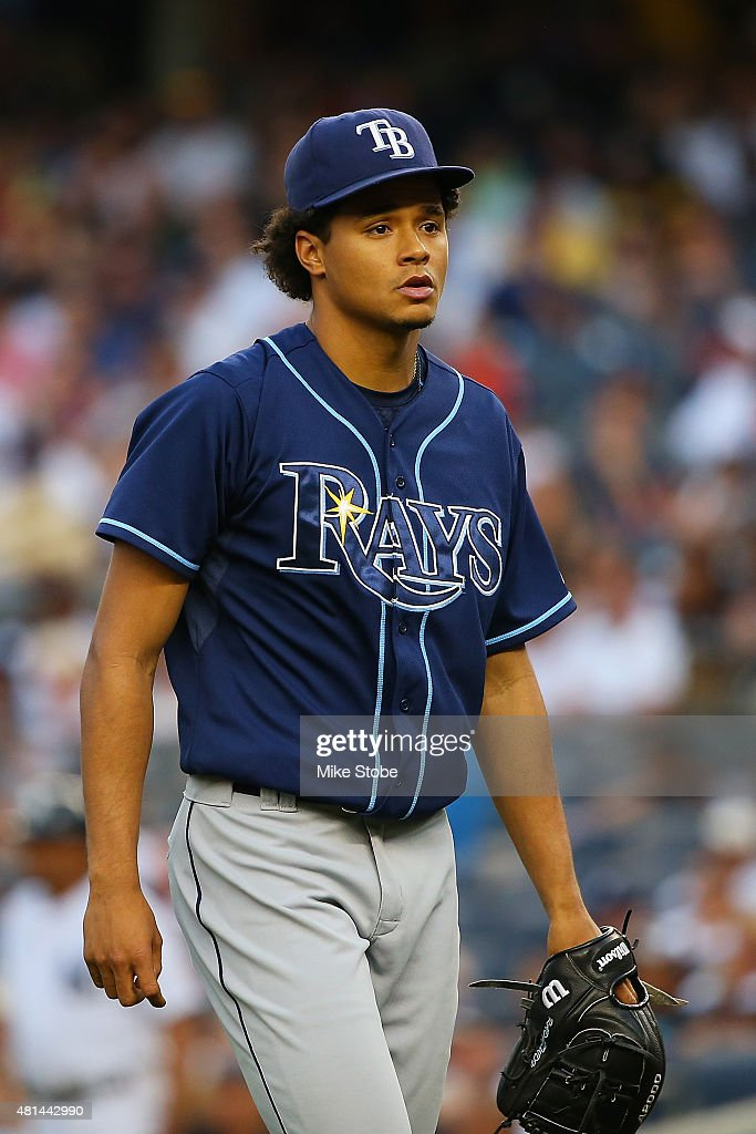 Chris Archer #22 of the Tampa Bay Rays in action against the New York Yankees at Yankee Stadium on July 3, 2015 in the Bronx borough of New York City. Yankees defeated the Rays 7-5 in twelfth inning