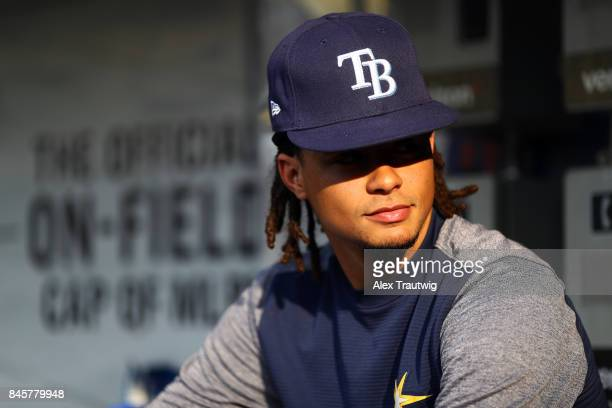 Chris Archer of the Tampa Bay Rays looks on during batting practice prior to the game against the New York Yankees at Citi Field on Monday September...
