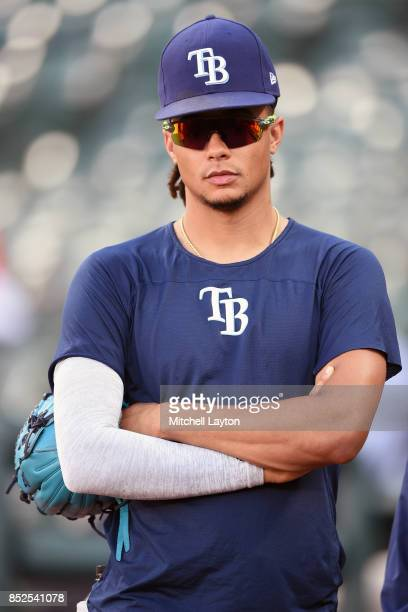 Chris Archer of the Tampa Bay Rays looks on during batting practice of a baseball game against the Baltimore Orioles at Oriole Park at Camden Yards...