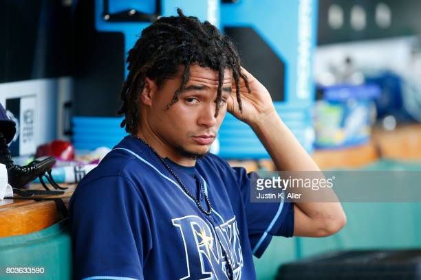 Chris Archer of the Tampa Bay Rays looks on from the dugout against the Pittsburgh Pirates during interleague play at PNC Park on June 29 2017 in...