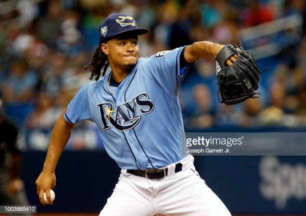 Chris Archer of the Tampa Bay Rays pauses before throwing a pitch in the third inning against the Miami Marlins at Tropicana Field on July 21 2018 in...