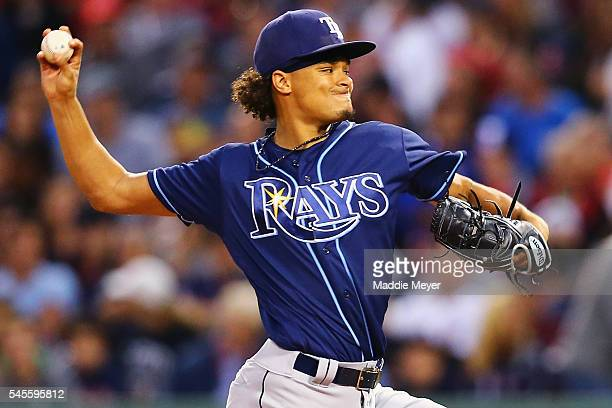 Chris Archer of the Tampa Bay Rays pitches against the Boston Red Sox during the fourth inning at Fenway Park on July 8 2016 in Boston Massachusetts