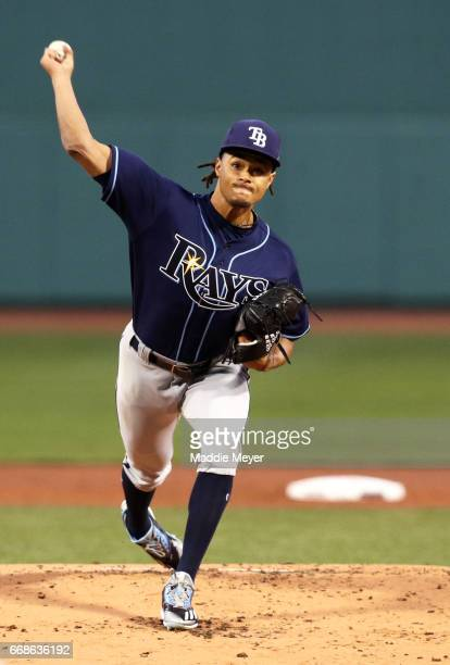 Chris Archer of the Tampa Bay Rays pitches against the Boston Red Sox during the first inning at Fenway Park on April 14 2017 in Boston Massachusetts