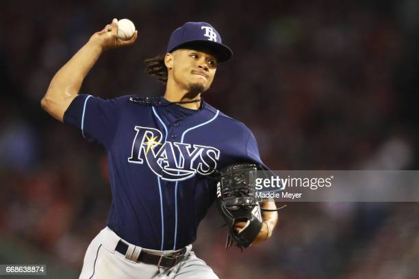 Chris Archer of the Tampa Bay Rays pitches against the Boston Red Sox during the second inning at Fenway Park on April 14 2017 in Boston Massachusetts