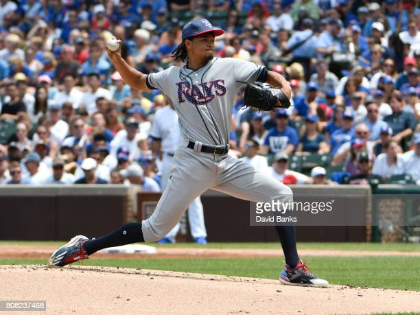 Chris Archer of the Tampa Bay Rays pitches against the Chicago Cubs during the first inning on July 4 2017 at Wrigley Field in Chicago Illinois