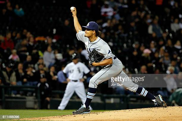 Chris Archer of the Tampa Bay Rays pitches against the Chicago White Sox during the third inning at US Cellular Field on September 29 2016 in Chicago...