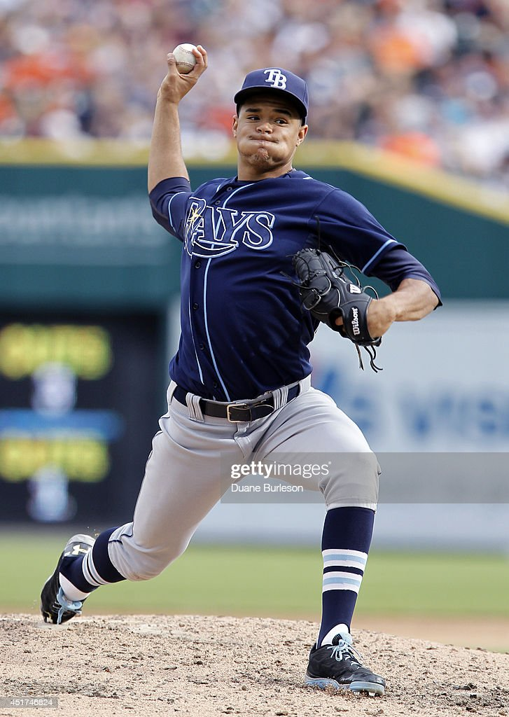 Chris Archer #22 of the Tampa Bay Rays pitches against the Detroit Tigers during the seventh inning at Comerica Park on July 5, 2014 in Detroit, Michigan. Archer gave up just two runs on six hits before being relieved in the ninth inning.
