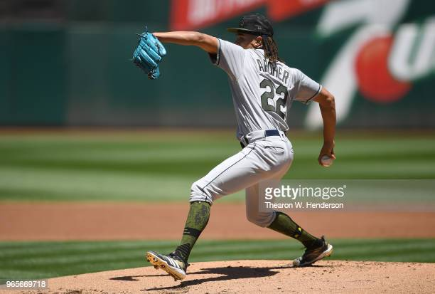 Chris Archer of the Tampa Bay Rays pitches against the Oakland Athletics in the bottom of the first inning at the Oakland Alameda Coliseum on May 28...