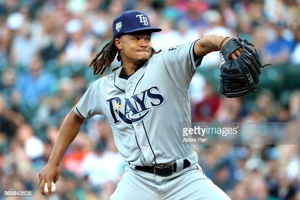 Chris Archer of the Tampa Bay Rays pitches against the Seattle Mariners in the first innng during their game at Safeco Field on June 2 2018 in...