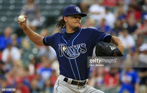 Chris Archer of the Tampa Bay Rays pitches against the Texas Rangers during the first inning at Globe Life Park in Arlington on May 31 2017 in...
