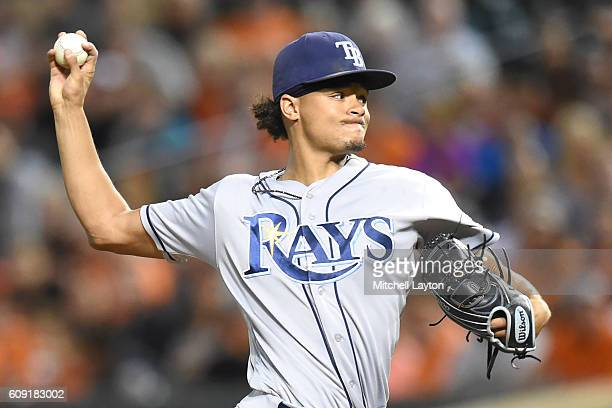 Chris Archer of the Tampa Bay Rays pitches during a baseball game against the against the Baltimore Orioles at Oriole Park at Camden Yards on...