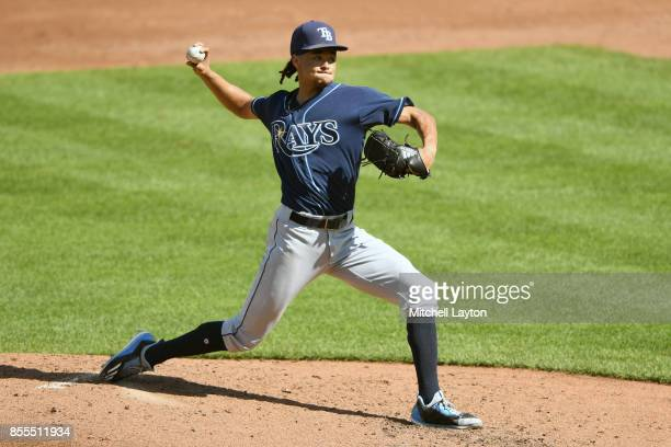 Chris Archer of the Tampa Bay Rays pitches during a baseball game against the Baltimore Orioles at Oriole Park at Camden Yards on September 24 2017...