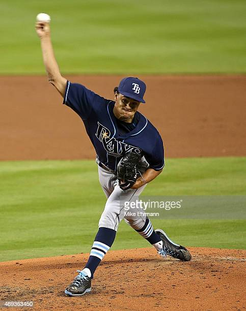 Chris Archer of the Tampa Bay Rays pitches during a game against the Miami Marlins at Marlins Park on April 11 2015 in Miami Florida