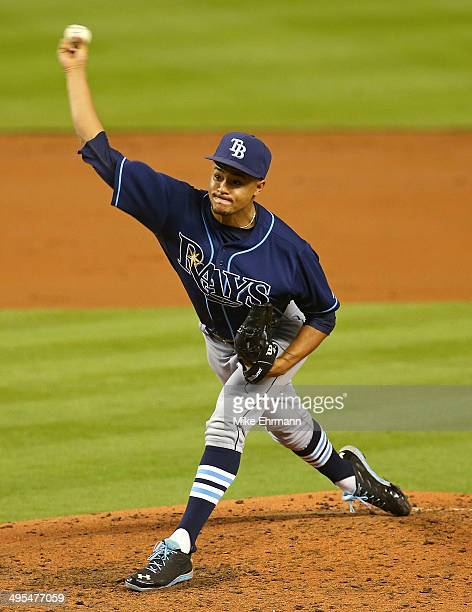 Chris Archer of the Tampa Bay Rays pitches during a game against the Miami Marlins at Marlins Park on June 3 2014 in Miami Florida