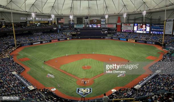 Chris Archer of the Tampa Bay Rays pitches during a game against the Boston Red Sox on Opening Day at Tropicana Field on March 29 2018 in St...