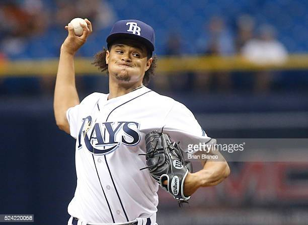 Chris Archer of the Tampa Bay Rays pitches during the first inning of a game against the Baltimore Orioles on April 25 2016 at Tropicana Field in St...