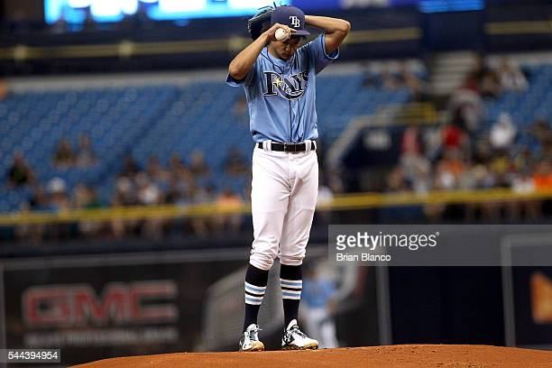 Chris Archer of the Tampa Bay Rays pitches during the first inning of a game against the Detroit Tigers on July 3 2016 at Tropicana Field in St...