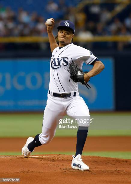 Chris Archer of the Tampa Bay Rays pitches during the first inning of a game against the Toronto Blue Jays on April 8 2017 at Tropicana Field in St...