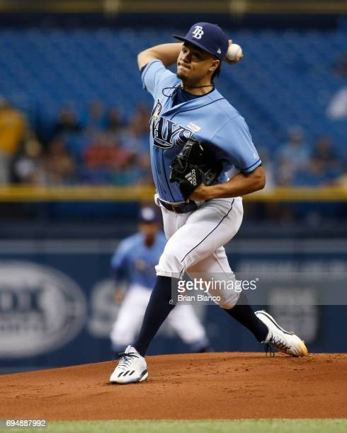Chris Archer of the Tampa Bay Rays pitches during the first inning of a game against the Oakland Athletics on June 11 2017 at Tropicana Field in St...
