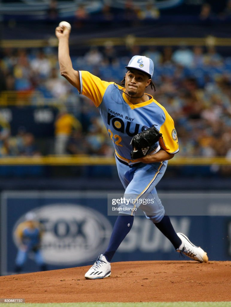 Chris Archer #22 of the Tampa Bay Rays pitches during the first inning of a game against the Cleveland Indians on August 12, 2017 at Tropicana Field in St. Petersburg, Florida.