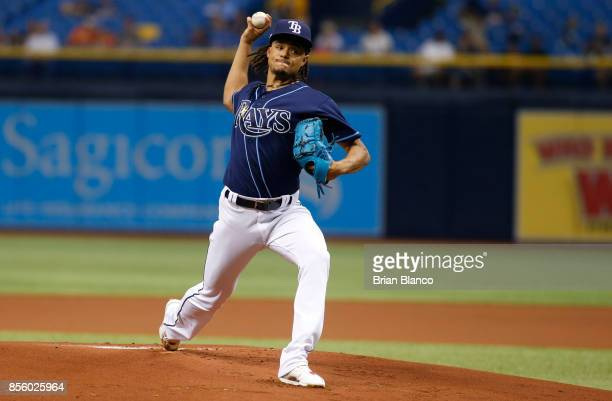 Chris Archer of the Tampa Bay Rays pitches during the first inning of a game against the Baltimore Orioles on September 30 2017 at Tropicana Field in...