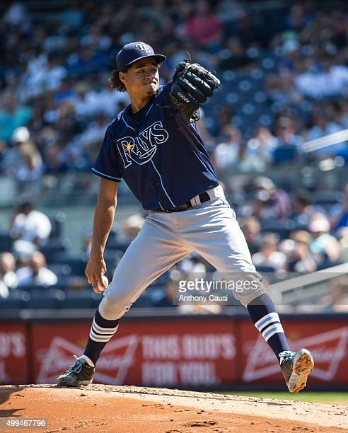 Chris Archer of the Tampa Bay Rays pitches during the game against the New York Yankees at Yankee Stadium on Sunday September 6 2015 in the Bronx...