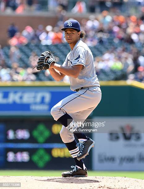 Chris Archer of the Tampa Bay Rays pitches during the game against the Detroit Tigers at Comerica Park on May 22 2016 in Detroit Michigan The Tigers...