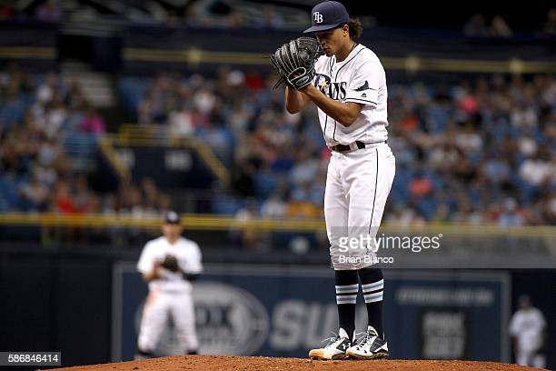 Chris Archer of the Tampa Bay Rays pitches during the second inning of a game against the Minnesota Twins on August 6 2016 at Tropicana Field in St...