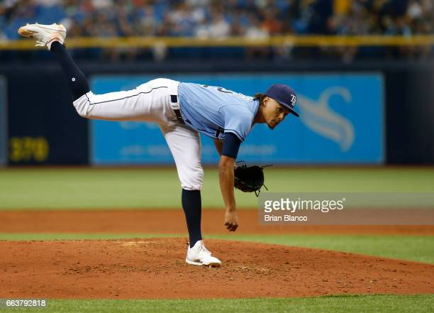 Chris Archer of the Tampa Bay Rays pitches during the second inning of a game against the Tampa Bay Rays on April 2 2017 at Tropicana Field in St...