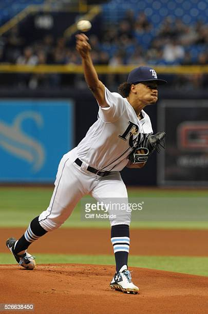 Chris Archer of the Tampa Bay Rays pitches in the first inning against the Toronto Blue Jays on April 30 2016 at Tropicana Field in St Petersburg...