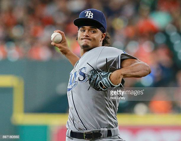Chris Archer of the Tampa Bay Rays pitches in the first inning against the Houston Astros at Minute Maid Park on August 28 2016 in Houston Texas