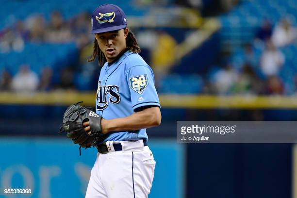 Chris Archer of the Tampa Bay Rays prepares to throw out the first pitch against the Toronto Blue Jays on May 6 2018 at Tropicana Field in St...