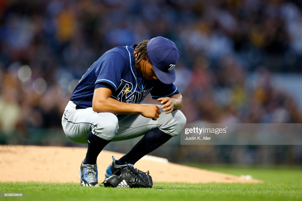 Chris Archer #22 of the Tampa Bay Rays reacts after giving up a home run in the sixth inning against the Pittsburgh Pirates during inter-league play at PNC Park on June 29, 2017 in Pittsburgh, Pennsylvania.