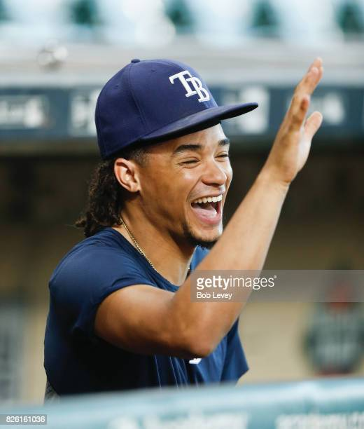 Chris Archer of the Tampa Bay Rays shares a moment with George Springer of the Houston Astros at Minute Maid Park on August 3 2017 in Houston Texas