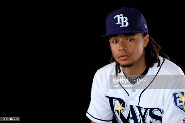 Chris Archer of the Tampa Bay Rays sits for a portrait during photo day at Charlotte Sports Park on February 18 2018 in Port Charlotte Florida