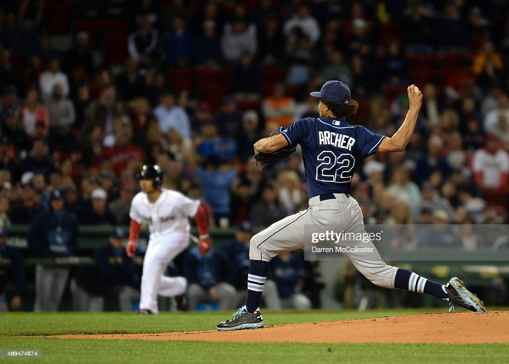 Chris Archer #22 of the Tampa Bay Rays throws a pitch in the first inning against the Boston Red Sox at Fenway Park on September 21, 2015 in Boston, Massachusetts.
