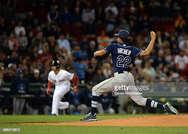 Chris Archer of the Tampa Bay Rays throws a pitch in the first inning against the Boston Red Sox at Fenway Park on September 21 2015 in Boston...