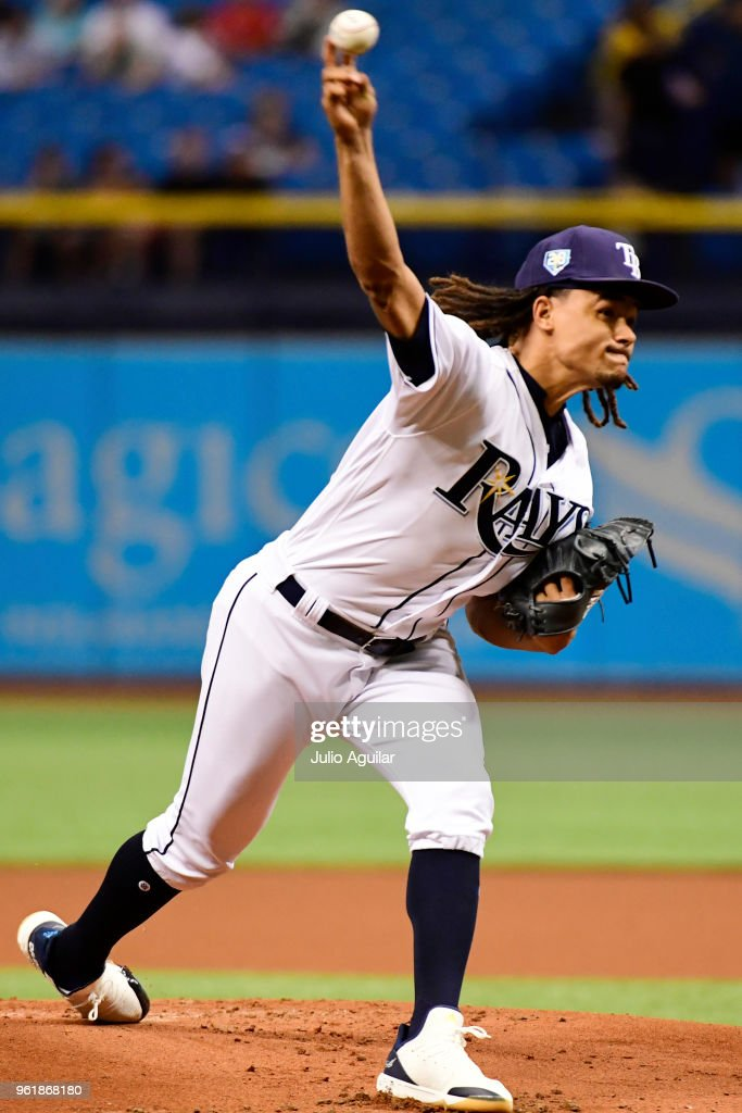 Chris Archer #22 of the Tampa Bay Rays throws a pitch in the first inning against the Boston Red Sox on May 23, 2018 at Tropicana Field in St Petersburg, Florida.