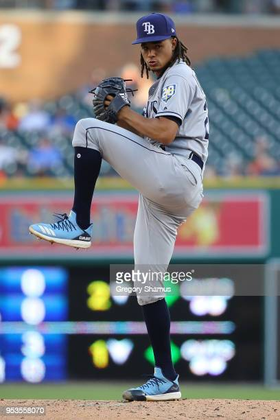 Chris Archer of the Tampa Bay Rays throws a second inning pitch while playing the Detroit Tigers at Comerica Park on May 1 2018 in Detroit Michigan