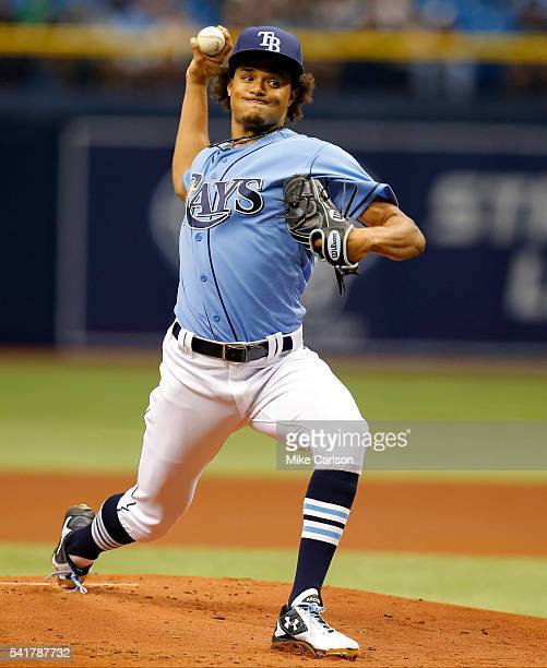 Chris Archer of the Tampa Bay Rays throws against the Toronto Blue Jays during the Opening Day game at Tropicana Field on Sunday April 3 2016 in St...