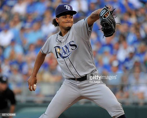 Chris Archer of the Tampa Bay Rays throws in the first inning against the Kansas City Royals at Kauffman Stadium on June 1 2016 in Kansas City...